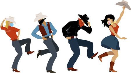 People dressed in western fashion and protective face masks and bandannas dancing western dance, EPS 8 vector illustration  イラスト・ベクター素材