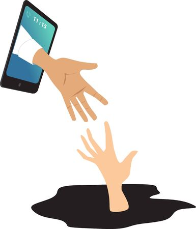 Helping hand coming out of a smartphone to catch a drowning person as a metaphor for online mental health consultation, EPS 8 vector illustration