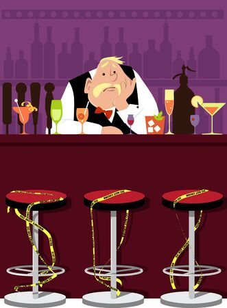 Bored bartender sitting in an empty bar with chairs tide in yellow danger tape, prepared drinks waiting for customers, EPS 8 vector illustration