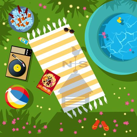 Summer vacation theme items lying around on the grass in the backyard, representing staycation or weekend at home, view from top, vector illustration