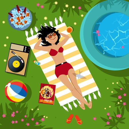 Young woman enjoying vacation or staycation at her own backyard, listening music, having a cold drink, view from top, vector illustration  イラスト・ベクター素材