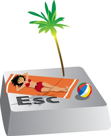 Woman tanning on a towel under a palm tree on Escape computer button, vector illustration  イラスト・ベクター素材