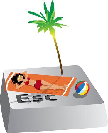 Woman tanning on a towel under a palm tree on Escape computer button, vector illustration Illusztráció