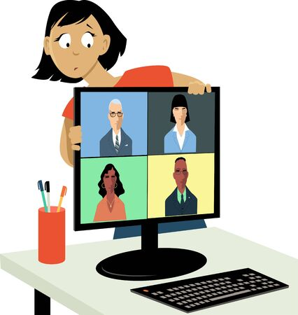 Woman hiding behind a computer screen from a work video chat, vector illustration