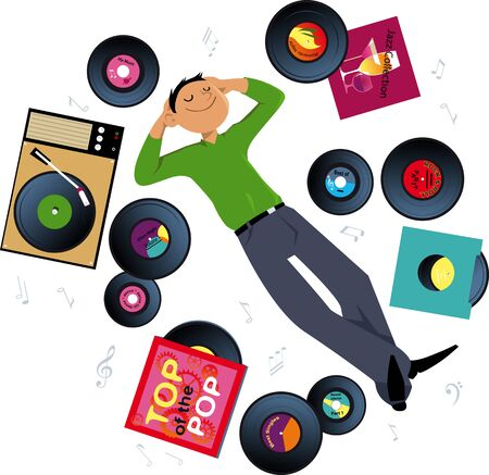 Young man lying on the floor surrounded by vinyl records, listening to music from a vintage record player, vector illustration