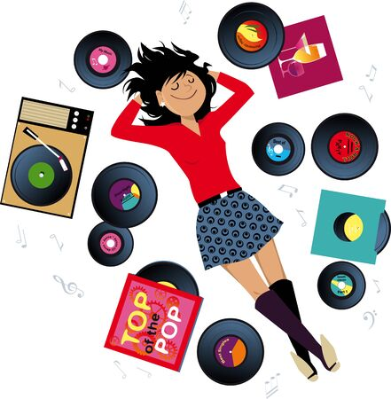 Young woman lying on the floor surrounded by vinyl records, listening to music from a vintage record player, vector illustration