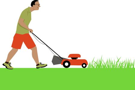 Smiling man cutting grass using a lawnmower,  EPS 8 vector illustration, isolated on white