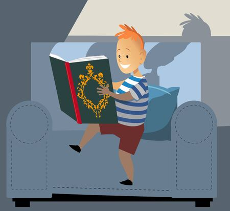 Little boy reading a book, light coming from it's page, EPS 8 vector illustration  イラスト・ベクター素材