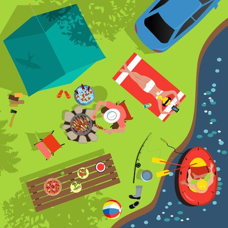 Family camping at the river bank camp sight, aerial view, vector illustration  イラスト・ベクター素材