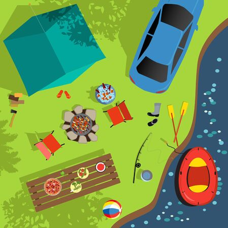 Aerial view of a camping sight,  vector illustration