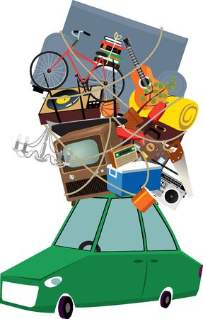 Little car loaded with assorted household items and furniture, ready to move or travel, EPS 8 vector illustration