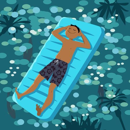 Smiling man in a swim trunks drifting on an inflatable float on glistening water, EPS 8 vector illustration