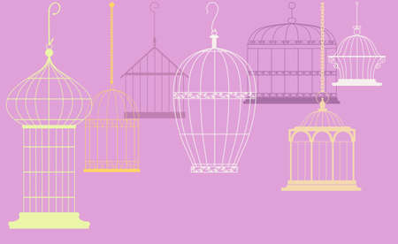 Ornamental bird cages design for a header, EPS 8 vector illustration