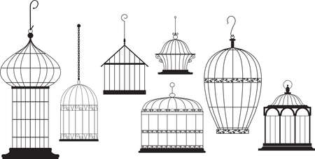 Set of ornamental bird cages isolated on white, EPS 8 vector illustration