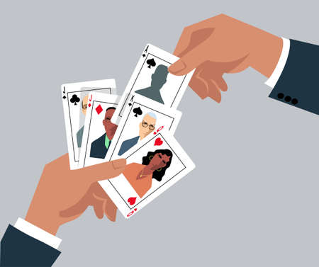 Hands playing cards with business people drawn on them, EPS 8 vector illustration