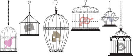 Symbols of personal interests and feelings locked in separate cages as a metaphor for a psychological compartmentalization, EPS 8 vector illustration  イラスト・ベクター素材
