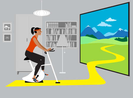 Woman exercising on a stationary bike at home in front of a realistic screen, EPS 8 vector illustration  イラスト・ベクター素材