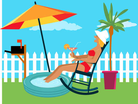 Woman enjoying a staycation at the backyard under an umbrella in her own backyard, EPS 8 vector illustration