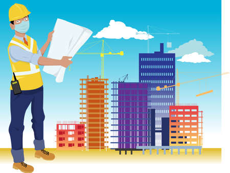 Contractor, engineer or architect, wearing face mask and holding a blueprint, construction site on the background, EPS 8 vector illustration