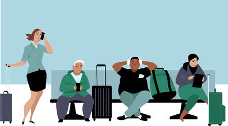 People waiting their flights in airport lounge, EPS 8 vector illustration  イラスト・ベクター素材