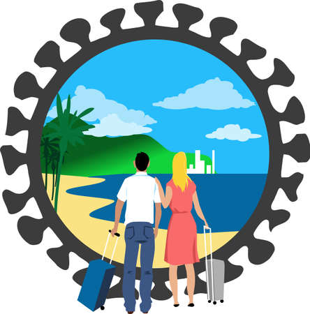 Couple with suitcases looking at an exotic destination landscape through a frame shaped as a coronavirus, EPS 8 vector illustration