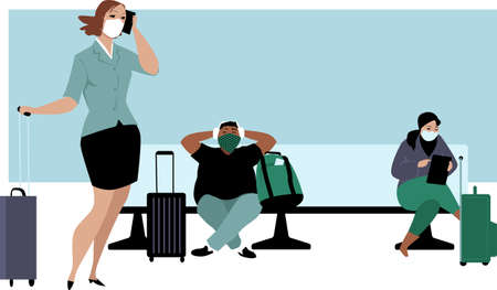 People waiting in an airport lounge, wearing face coverage and maintaining physical distance, EPS 8 vector illustration