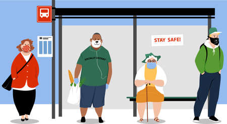 People waiting on a city bus stop wearing face coverage and maintaining physical distance, EPS 8 vector illustration