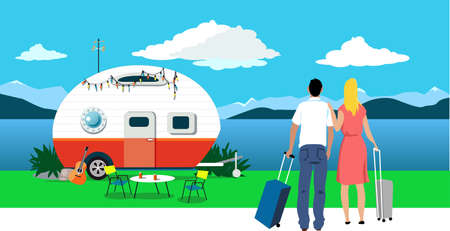 Couple with suitcases looking at a peaceful local vacation spot, EPS 8 vector illustration