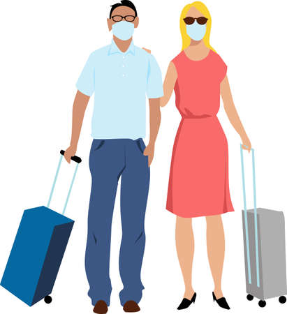 Traveling couple with suitcases, wearing protective face masks, EPS 8 vector illustration
