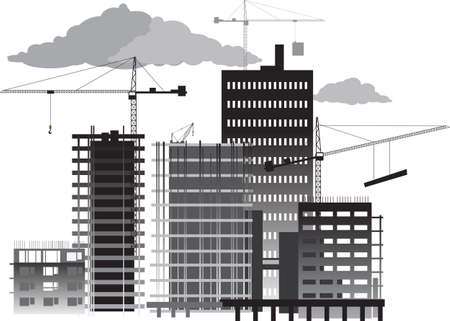 Construction site with high rise buildings and cranes, EPS 8 vector grayscale illustration