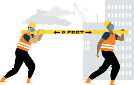Construction workers carrying a lumber 6 feet apart and wearing face masks, EPS 8 vector illustration