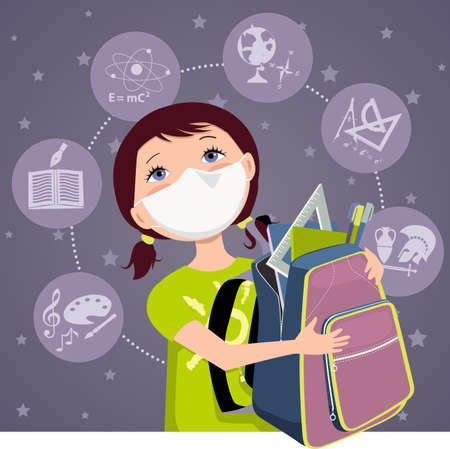 Cartoon school girl with a backpack wearing a face mask for protection during a pandemic, EPS 8 vector illustration Illustration