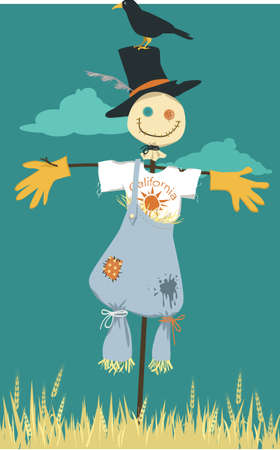 Cute scarecrow in California souvenir tee shirt standing in a wheat field, EPS 8 vector illustration