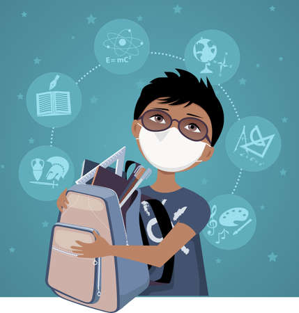 Cartoon school boy with a backpack wearing a face mask for protection during a pandemic,