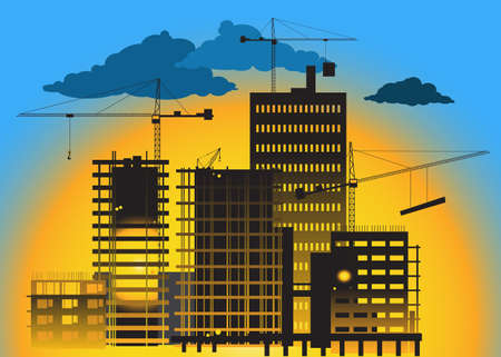 Construction site at the sunrise with high rise buildings and cranes Illustration
