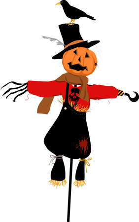 Halloween scarecrow with a Jack-o-lantern for a head, vector illustration  イラスト・ベクター素材