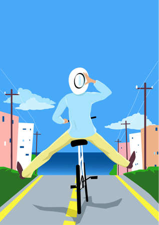 Carefree person riding a bicycle with his feet up in the air in a seaside town,   vector illustration