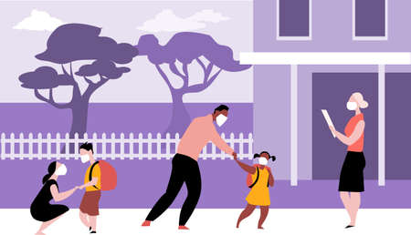 Parents bringing kids to elementary school wearing face masks and maintaining physical distancing during a pandemic,   vector illustration Illustration