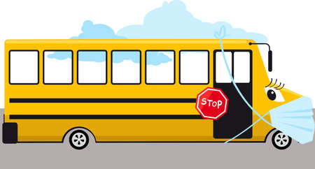 School bus in a protective face mask during a Covid-19 pandemic,   vector illustration