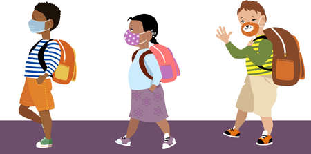 Elementary age school kids going to school, wearing protective medical and home-made face masks,  vector illustration
