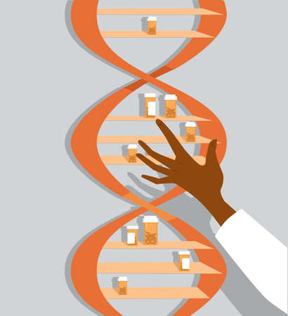 Pill bottles inside DNA molecule and a hand of a doctor or a scientist reaching in for illustration of genetic disorders and gene therapy Illustration