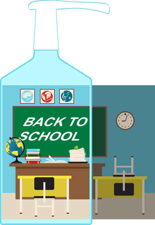 Open classroom shown through a hand sanitizer bottle vs closed school due to pandemic