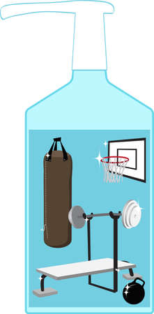 Hand sanitizing bottle with a gym equipment inside as a metaphor for a post pandemic hygiene standards Illustration