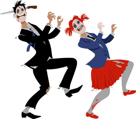 Couple in Halloween zombie costumes and makeup dancing  イラスト・ベクター素材