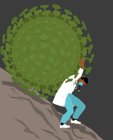 A health care professional struggling to hold a giant virus rolling downhill  イラスト・ベクター素材