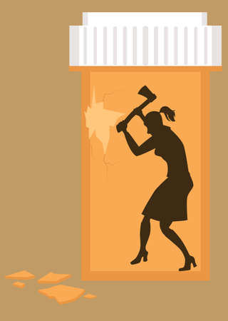 Woman trying to break out of a pill bottle symbolizing her prescription drug addiction, EPS 8 vector illustration