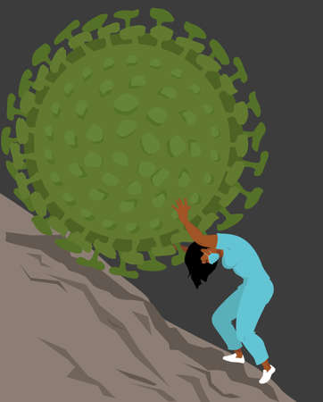A health care professional struggling to hold a giant virus rolling downhill Illustration