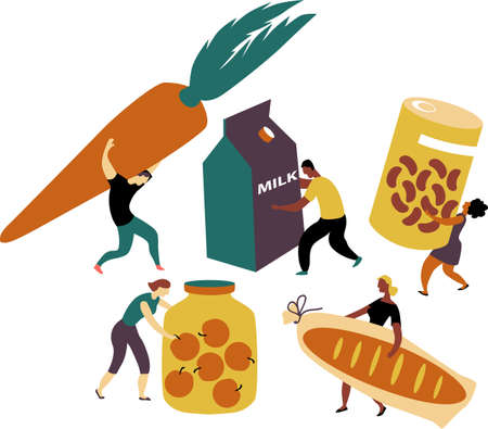 People bringing donations for the food bank, EPS 8 vector illustration