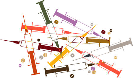 Syringes and pills vector illustration, representing drug addiction and abuse,  EPS 8