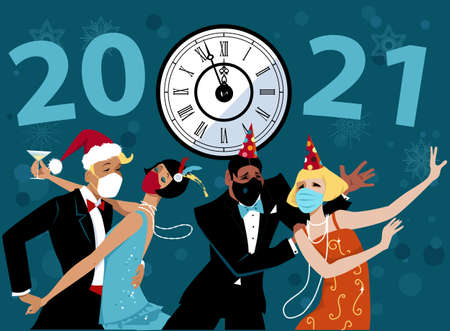 People wearing face masks and retro fashion celebrating upcoming 2021 at the new year party, EPS8 vector illustration